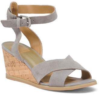 Ankle Strap Cork Wedge Suede Sandals