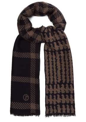 Giorgio Armani Virgin Wool Blend Scarf - Mens - Navy