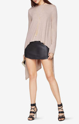 BCBGMAXAZRIA Roxanna Draped High-Low Open-Back Top