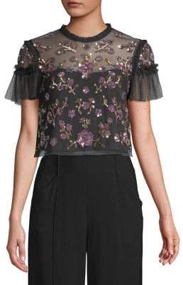 Needle & Thread Embroidered Mesh Top