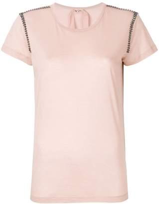 No.21 embellished shoulder detail T-shirt