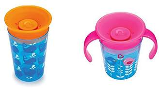 Munchkin Miracle 360 Degrees Sippy Cup with Trainer Cup, 9 oz/266 ml and 6 oz/177 ml, Whale/Birds