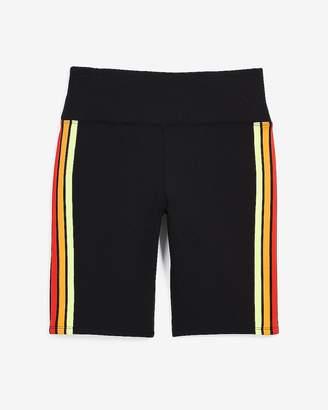 Express Love Unites High Waisted Rainbow Side Stripe Biker Shorts