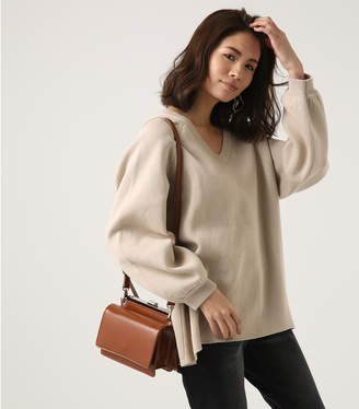 AZUL by moussy (アズール バイ マウジー) - 【AZUL BY MOUSSY】SWEATTER Vネック LOOSE TOPS L/BEG