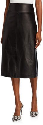 Narciso Rodriguez Leather A-Line Midi Skirt