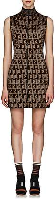 Fendi Women's Logo Cotton-Blend Zip-Front Dress - Brown