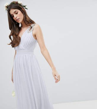 TFNC Wrap Front Maxi Bridesmaid Dress With Embellished Shoulder