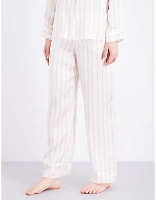 Asceno Blush Stripe silk-satin pyjama bottoms