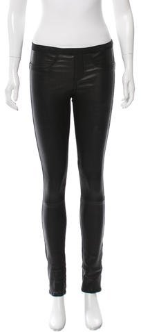 Helmut Lang Helmut Lang Mid-Rise Leather Leggings