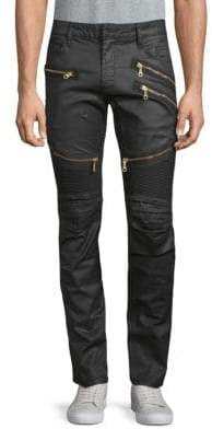 Front Ribbed Long Flap Biker Jeans