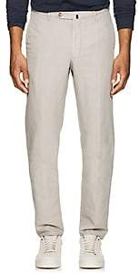 Incotex MEN'S B-BODY CLASSIC-FIT LINEN-COTTON CHINOS-LIGHT GRAY SIZE 32