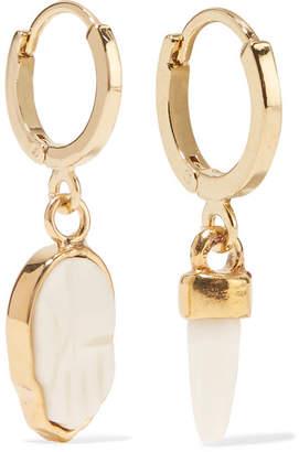 Isabel Marant Gold-tone Bone Earrings - Cream