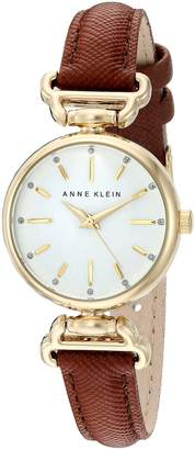 Anne Klein Women's AK/2498WTBN Glitter Accented Gold-Tone and Brown Strap Watch