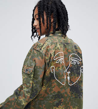 Reclaimed Vintage revived cropped camo jacket with faces print