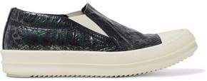 Rick Owens Rubber-Paneled Coated Crinkled-Twill Slip-On Sneakers