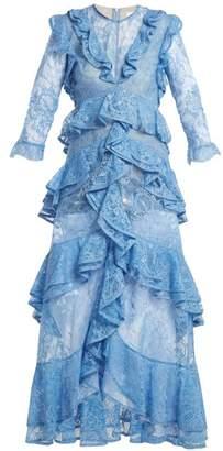 Erdem Koral ruffle-trimmed lace dress