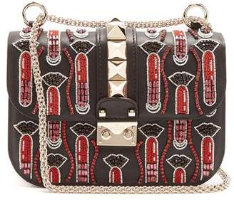 Valentino X Zandra Rhodes Lock Small Leather Shoulder Bag - Womens - Black Multi