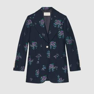 Gucci Flowers fil coupe cotton wool jacket