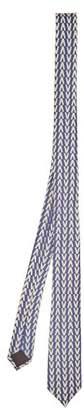 Valentino Optical Print Silk Twill Tie - Mens - Navy