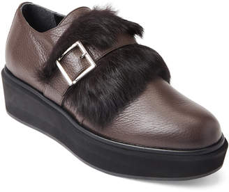 Paloma Barceló Brown Real Fur Platform Loafers