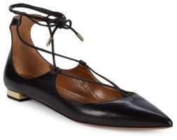 Aquazzura Christie Criss-Cross Leather Ankle Tie Flats