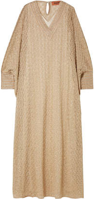 Missoni Oversized Picot-trimmed Crochet-knit Maxi Dress - Gold