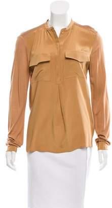 Tibi Long Sleeve Button-Up Top