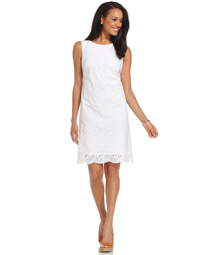 Charter Club Petite Dress, Sleeveless Eyelet Scallop-Hem