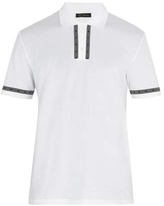 Versace Logo Print Tape Cotton Pique Polo Shirt - Mens - White