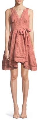 La Maison Talulah Rapture Sleeveless V-Neck Fit-and-Flare Eyelet Lace Dress