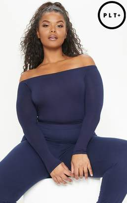 PrettyLittleThing Plus Navy Basic Bardot Bodysuit