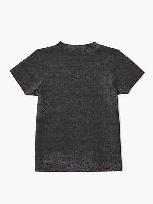 John Lewis & Partners Girls' Metallic T-Shirt, Silver