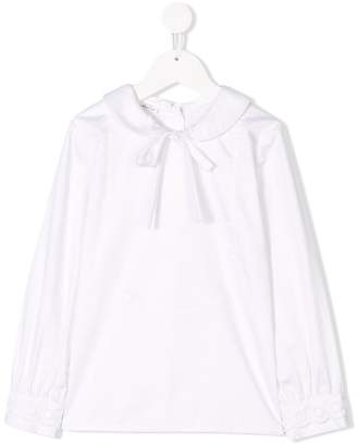 Oscar de la Renta Kids bow front long-sleeve blouse