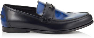 Jimmy Choo DARBLAY Smoky Blue and Navy Brush Off Leather Penny Loafers