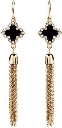 Amrita Singh Crystal & Enamel Clover Tassel Earrings