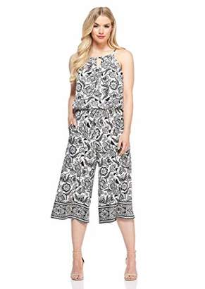 London Times Women's Petite Keyhole Halter Cropped Jumpsuit with Pockets