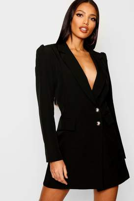 boohoo Volume Sleeve Blazer Dress
