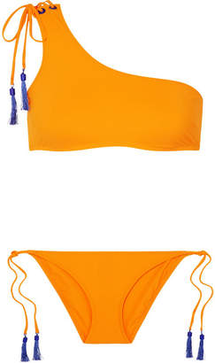 Emma Pake Maria Lia Tasseled One-shoulder Bikini - Saffron