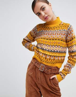 Monki high neck cropped fairisle sweater in yellow