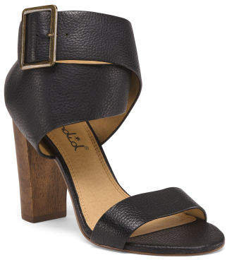 Wooden Heel Leather Sandals