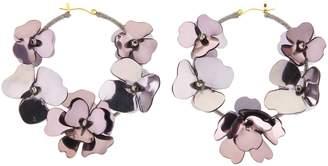 Oscar de la Renta Gun Metal Flower Garden Hoop Earrings