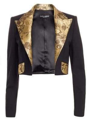 Dolce & Gabbana Jacquard Trimmed Cropped Blazer
