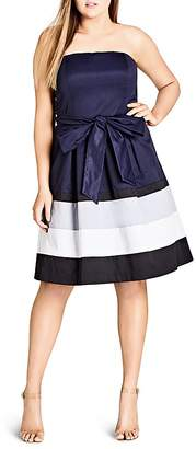City Chic Fit-and-Flare Block Stripe Dress