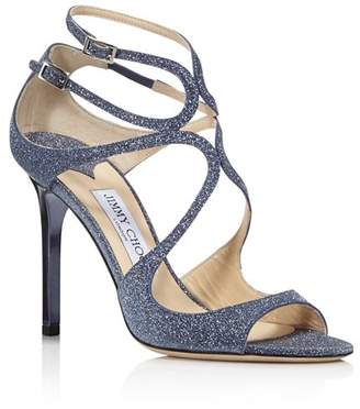 0e803df27a8dfa Jimmy Choo Women s Lang Glitter Leather Strappy High-Heel Sandals