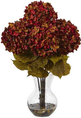 "Nearly Natural 18""H Hydrangea Artificial Flower Arrangement with Glass Vase"