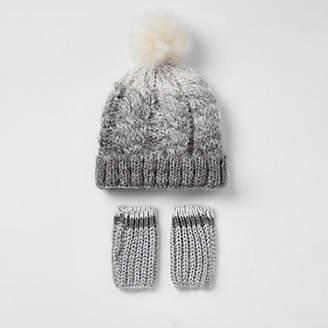 River Island Mini boys grey ombre faux fur knit hat set