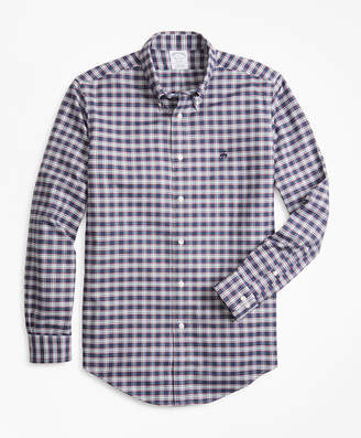 Brooks Brothers Non-Iron Regent Fit Heathered Check Oxford Sport Shirt
