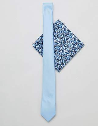 Asos DESIGN slim tie in pale blue with floral pocket square