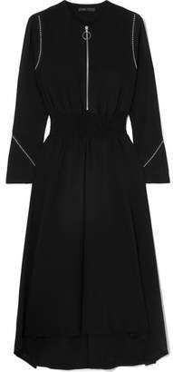 Maje Asymmetric Studded Crepe Midi Dress - Black