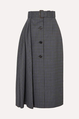 Prada Pleated Prince Of Wales Checked Wool-blend Midi Skirt - Gray